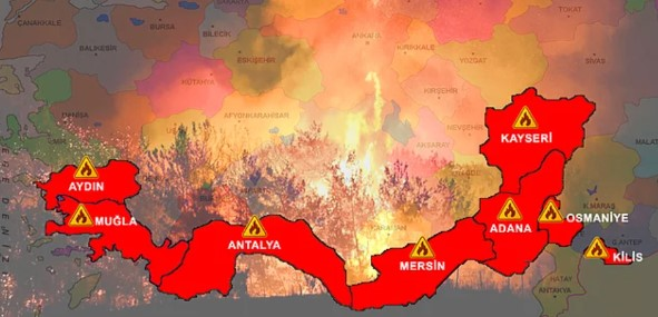 Karte Waldbrände Türkei